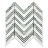 White Thassos Chevron with Ming Green Strips Mosaic Polished (0.87 sf)