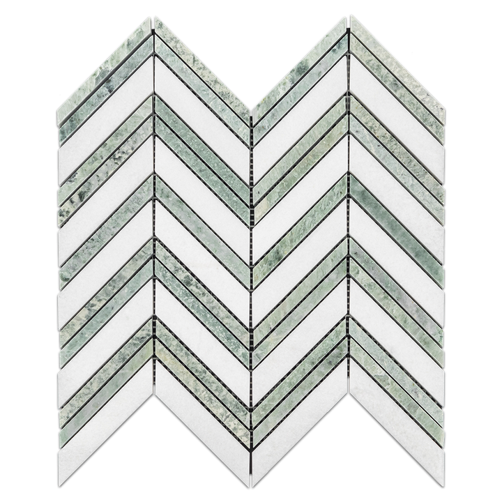 **LIMITED STOCK** White Thassos Chevron with Ming Green Strips Mosaic Polished (0.87 sf) - Elon Tile
