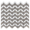 White Thassos Petite Chevron with Sand Dollar Mosaic