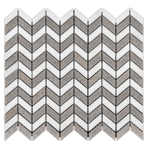 **LIMITED STOCK** White Thassos Petite Chevron with Sand Dollar Mosaic Polished - Elon Tile