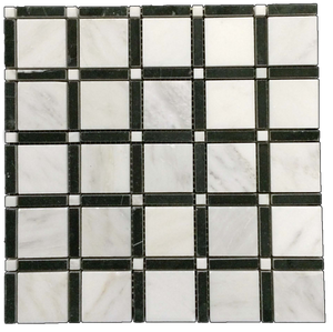"Petite 2"" SQ Mosaic - Pearl/ Black Bar/ Pearl Polished - Elon Tile"