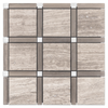 Beachwood with Driftwood Bar and Pearl White Dot Grande Square Mosaic - Elon Tile