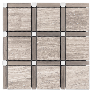 **LIMITED STOCK** Beachwood with Driftwood Bar and Pearl White Dot Grande Square Mosaic Honed