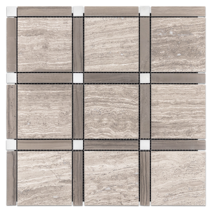 **LIMITED STOCK** Beachwood with Driftwood Bar and Pearl White Dot Grande Square Mosaic Honed - Elon Tile