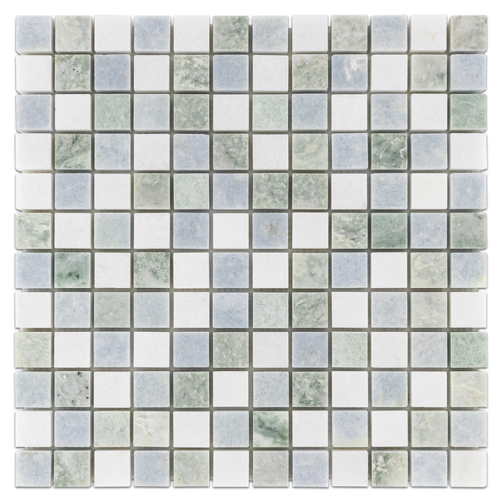 "Tri-Blend Ming Green/Blue Celeste/White Thassos 1"" x 1"" Mosaic Polished - Elon Tile"