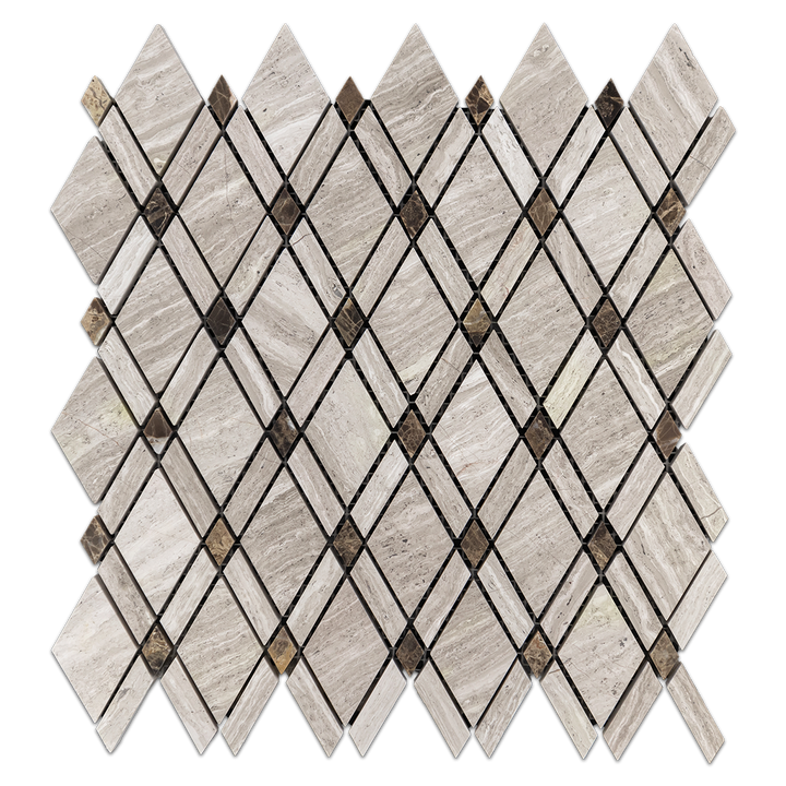 Beachwood Petite Lattice w/ Dark Emperador Dot Mosaic Honed (0.78sf) - Elon Tile