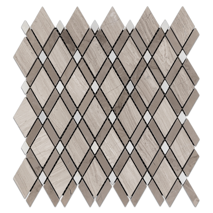 Beachwood Petite Lattice w/ Driftwood Bar/ White Dot Mosaic Honed (0.78 sf) - Elon Tile