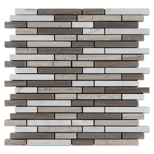 Random Strip Tri Blend - Pearl White/ Beachwood/ Driftwood Honed (1 sf) - Elon Tile
