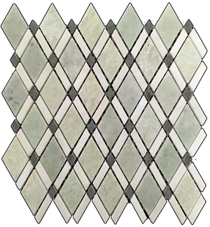 Ming Green Lattice with White Absolute Mosaic Polished (1.01 sf) - Elon Tile