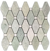 "Ming Green Rhomboid with 5/8"" White Absolute Dot Mosaic Honed (0.84 sf)"