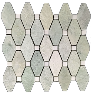 "**LIMITED STOCK** Ming Green Rhomboid with 5/8"" White Absolute Dot Mosaic Honed (0.84 sf) - Elon Tile"