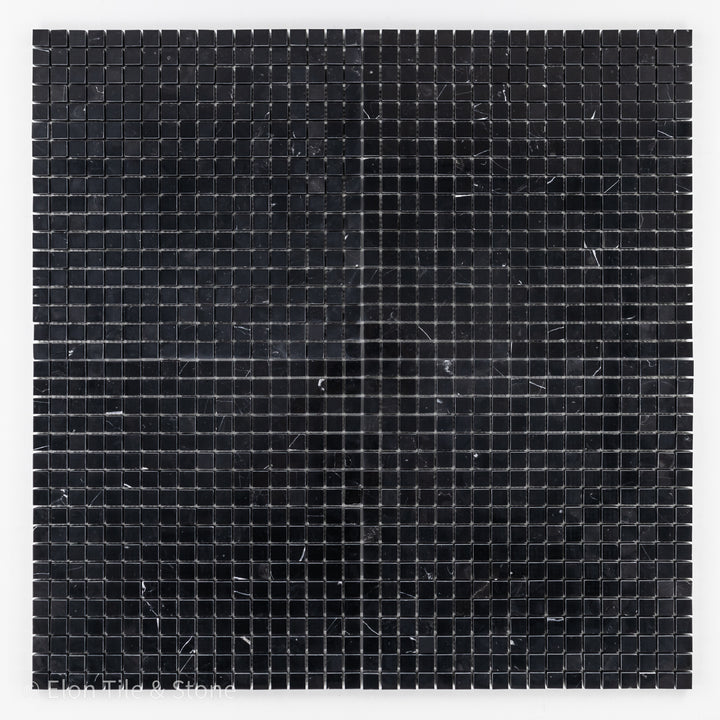 "Black Marble 5/8"" x 5/8"" Square Mosaic Polished - Elon Tile"