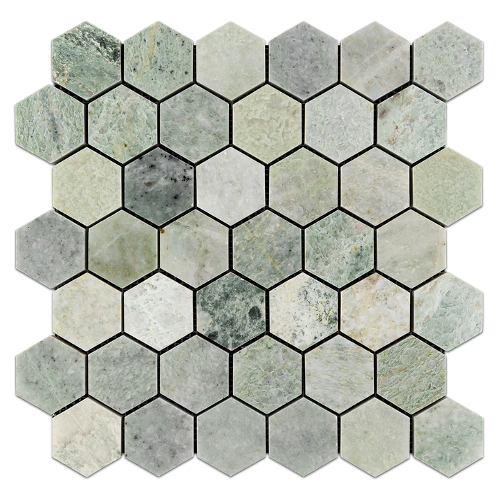 "Ming Green 2"" Hexagon Mosaic Polished - Elon Tile"