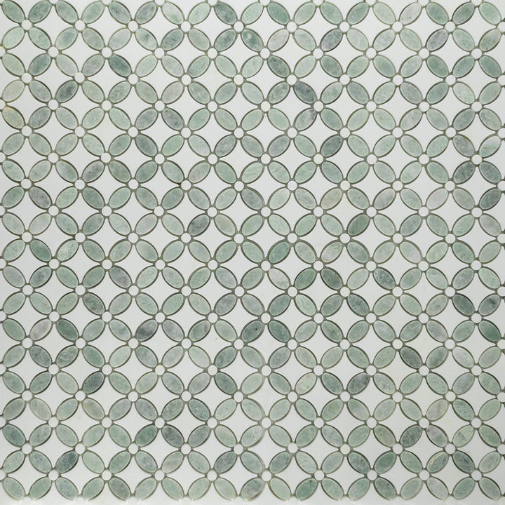 Ming Green with White Thassos Fleur Mosaic Polished (1.2 sf) - Elon Tile
