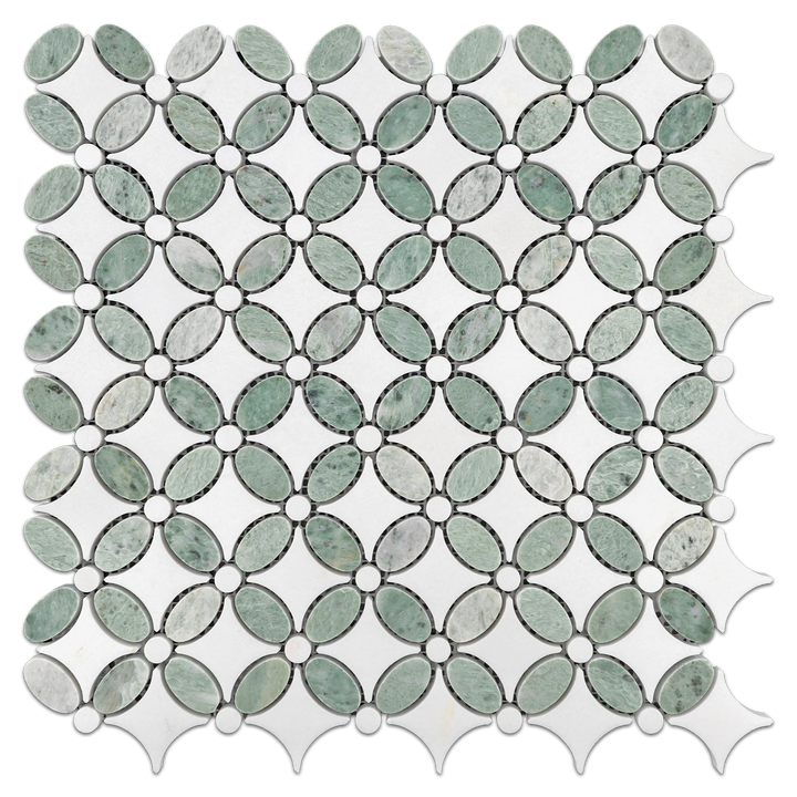 Ming Green with White Thassos Fleur Mosaic Polished - Elon Tile & Stone