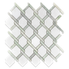 White Absolute with Ming Green Bar Argyle Mosaic Polished (0.92 sf) - Elon Tile