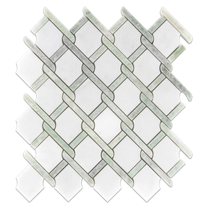 White Absolute with Ming Green Bar Argyle Mosaic Polished - Elon Tile
