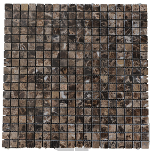 "**LIMITED STOCK** Dark Emperador 5/8"" x 5/8"" Mosaic Polished - Elon Tile"