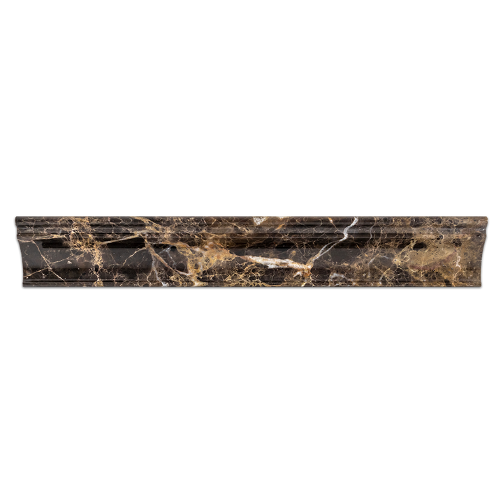 "Dark Emperador 2"" x 12"" Capital Molding Polished @28 - Elon Tile"