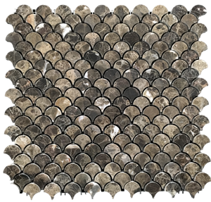 **LIMITED STOCK** Dark Emperador Fan Mosaic Polished - Elon Tile & Stone