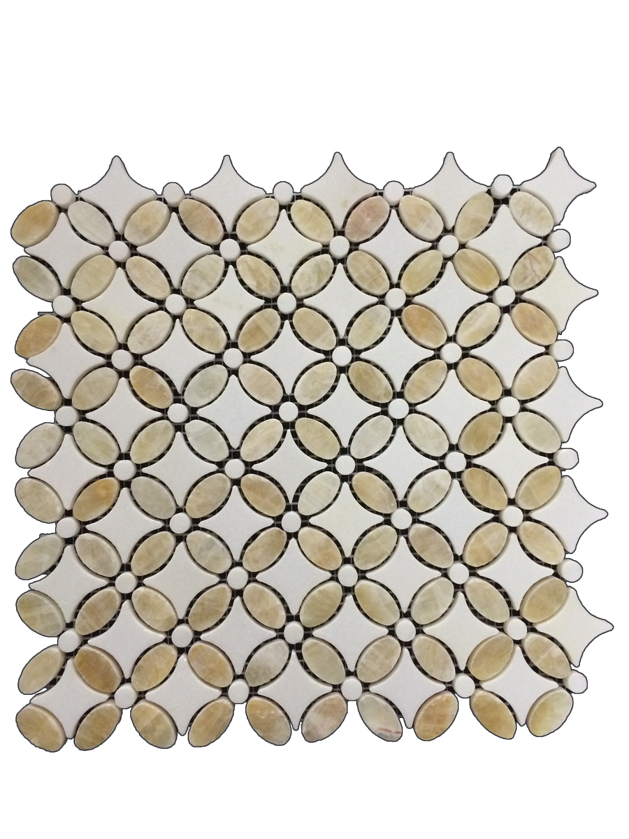 **LIMITED STOCK** White Thassos with Honey Onyx Fleur Mosaic Polished (1.20 sf) - Elon Tile