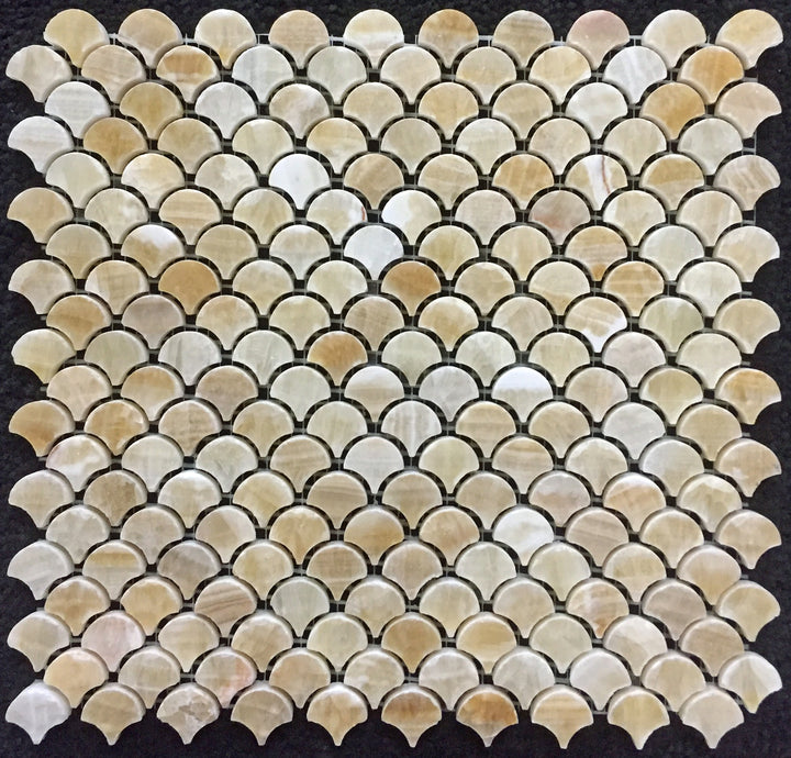 **LIMITED STOCK** Honey Onyx Fan Mosaic Polished (0.97 sf) - Elon Tile