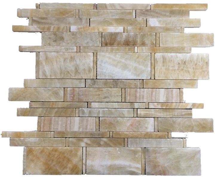 **LIMITED STOCK** Honey Onyx Multi-Width Mosaic Polished - Elon Tile