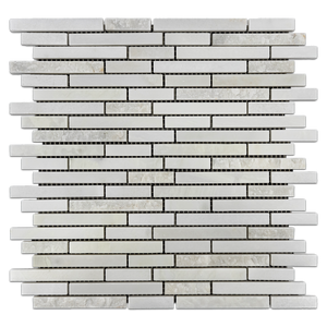 White Absolute Split Face Random Strip Polished (1 sf) - Elon Tile