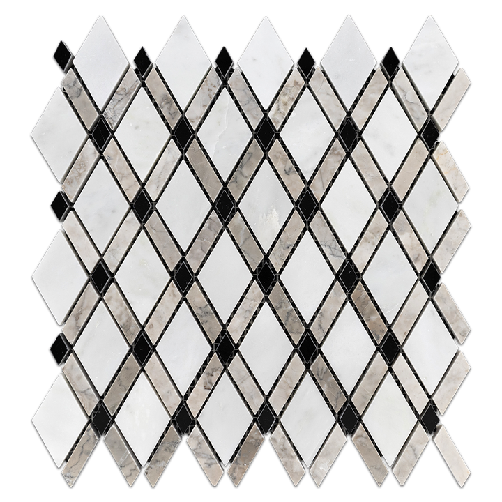White Absolute/Black Lattice with Temple Grey Mosaic Polished (1.01 sf) - Elon Tile