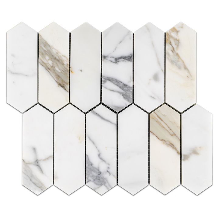 "Calacatta 2"" x 6"" Picket Mosaic Honed"