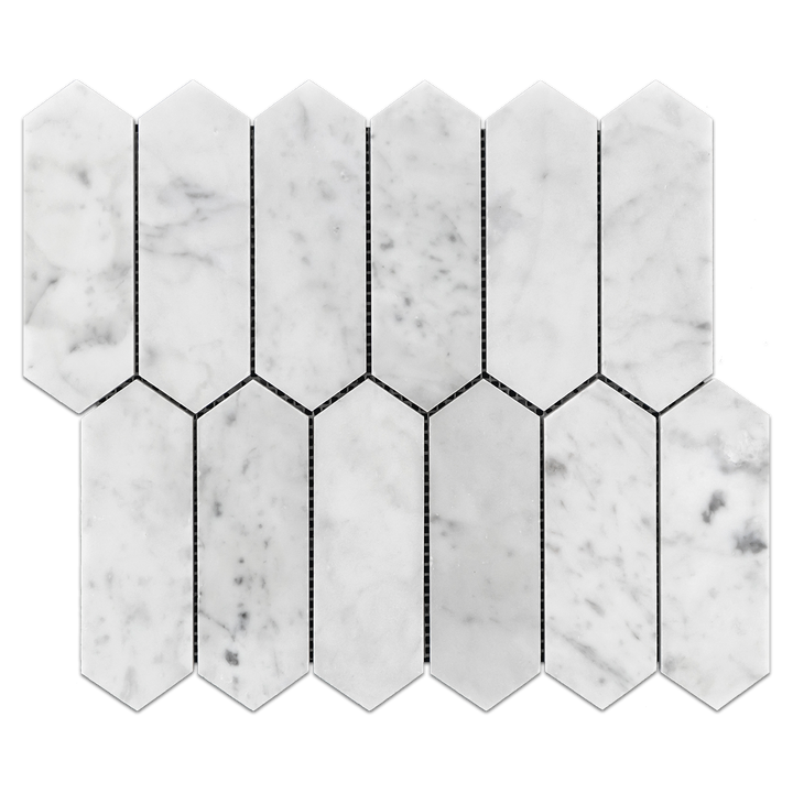 "Carrara 2"" x 6"" Picket Mosaic Honed"