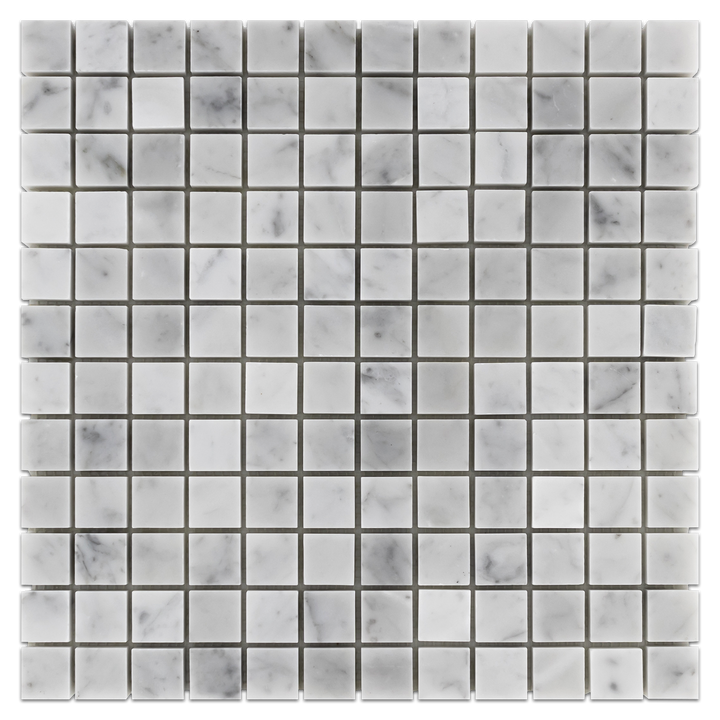 "Bianco Carrara 1"" x 1"" Mosaic Honed (1 sf) - Elon Tile"