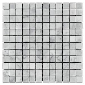 "Bianco Carrara 1"" x 1"" Mosaic Polished (1 sf) - Elon Tile"