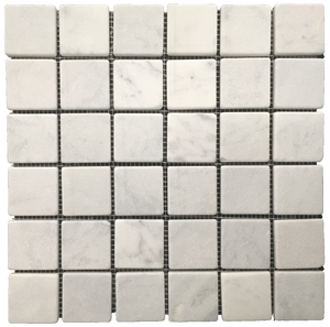 "**LIMITED STOCK** Bianco Carrara 2"" x 2"" Mosaic Tumbled - Elon Tile"