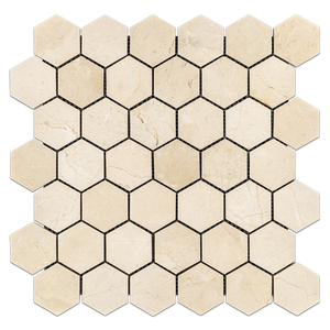 "Crema Marfil 2"" Hexagon Mosaic Honed - Elon Tile"