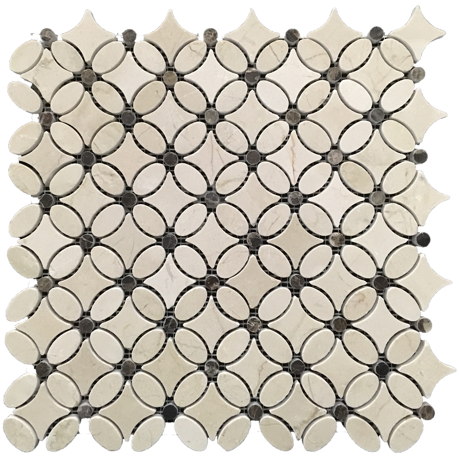 **LIMITED STOCK** Crema Marfil with Dark Emperador Fleur Mosaic Polished - Elon Tile