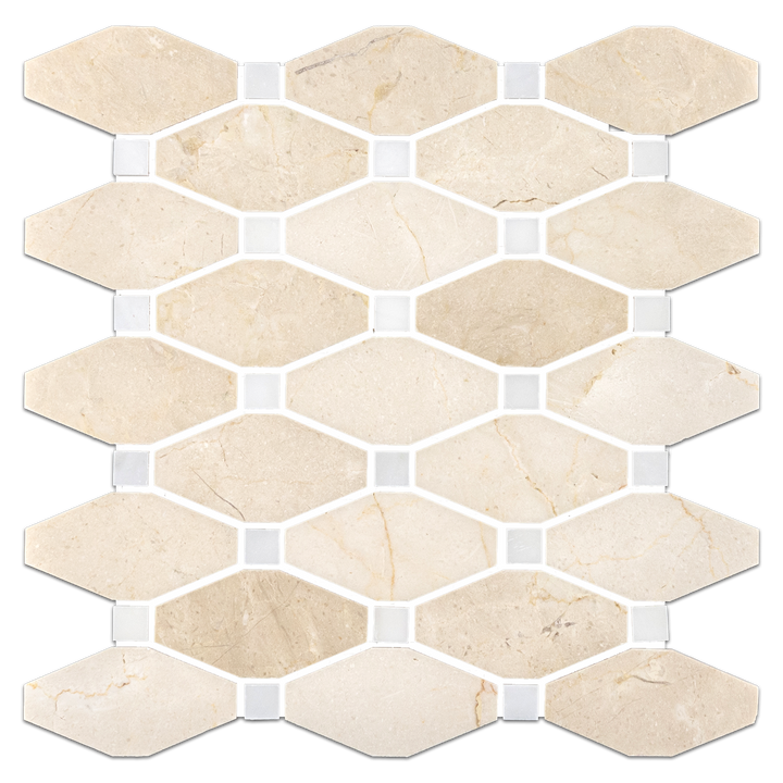 "**LIMITED STOCK** Crema Marfil Rhomboid with 5/8"" White Absolute Dot Mosaic Honed - Elon Tile"