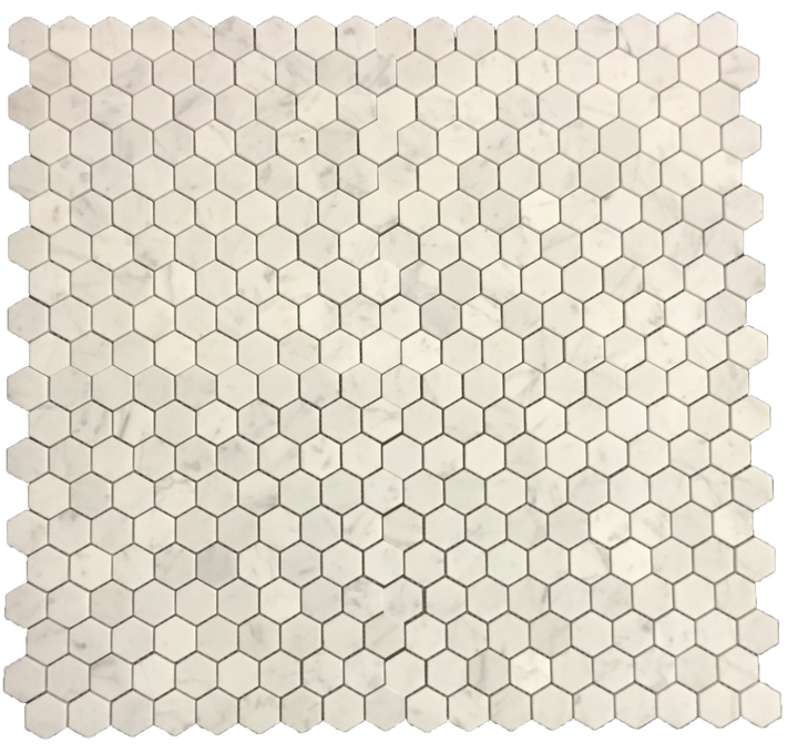 "Bianco Carrara 1 1/4"" Hexagon Mosaic Honed (0.96 sf) - Elon Tile"