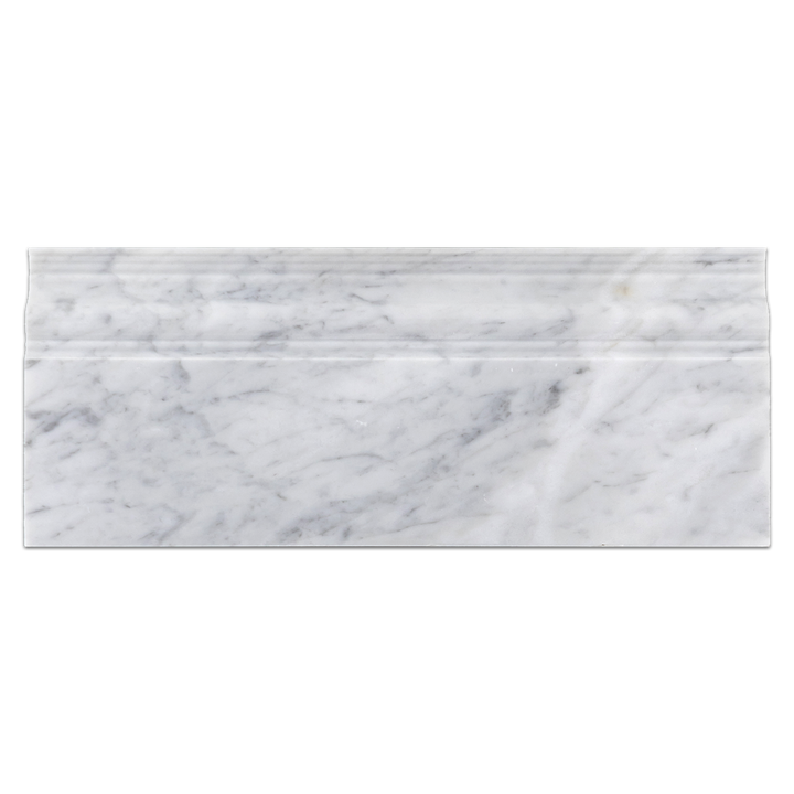 "Bianco Carrara 5"" x 12"" Base Molding Polished - Elon Tile"