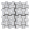 Bianco Carrara Basketweave with White Thassos Dot Mosaic Honed (1 sf) - Elon Tile