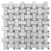Bianco Carrara Basketweave with Pacific Gray Dot Mosaic