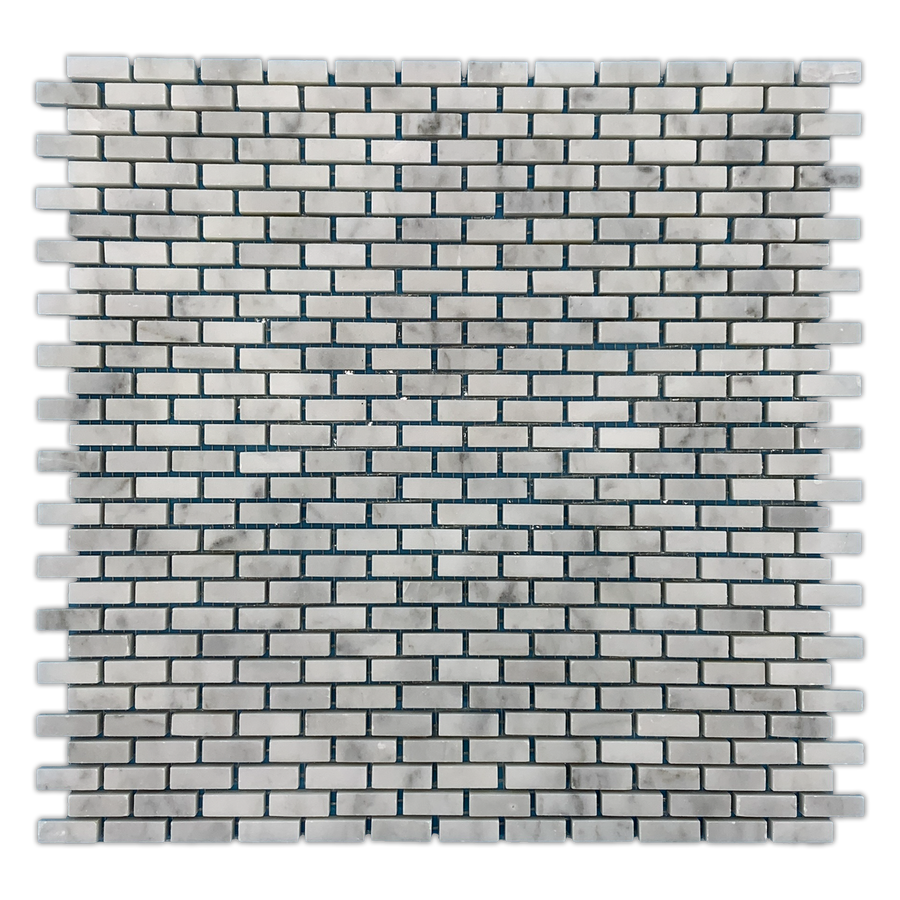 Bianco Carrara Micro Brick Mosaic Honed - Elon Tile