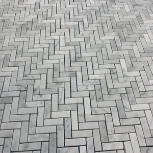 Bianco Carrara Micro Herringbone Mosaic Honed - Elon Tile