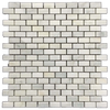 "Pearl White 5/8"" x 1 1/4"" Mini Brick Mosaic Polished (1 sf)"