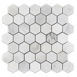 "Pearl White 2"" Hexagon Mosaic Polished (0.97 sf) - Elon Tile"