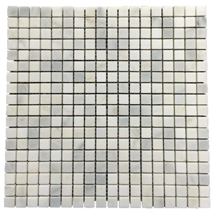 "Pearl White 5/8"" x 5/8"" Mosaic Honed (1 sf) - Elon Tile"