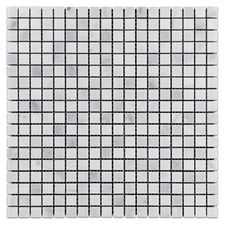 "Pearl White 5/8"" x 5/8"" Mosaic Polished (1 sf) - Elon Tile"