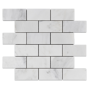 "Pearl White 2"" x 4"" Brick (No Bevel) Mosaic Honed - Elon Tile"