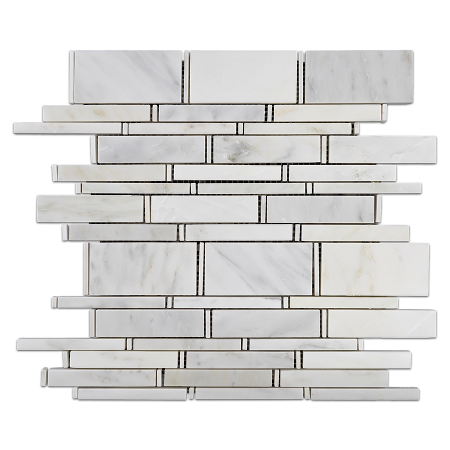 Pearl White Multi Width Mosaic Polished (1.07 sf) - Elon Tile