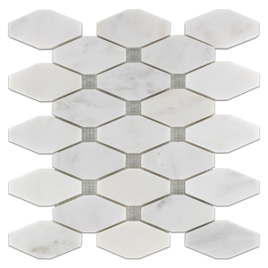 Pearl White Rhomboid Without Dot Mosaic Polished (0.79 sf) - Elon Tile